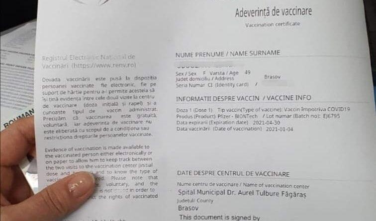 adeverinta vaccinare